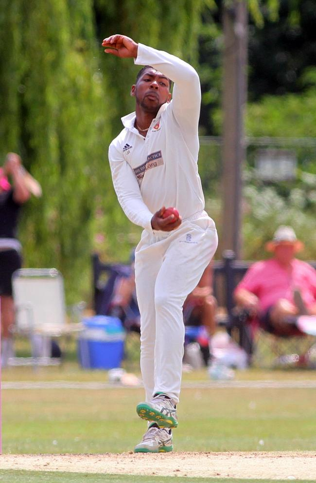 Key performer - Denson Narayan claimed four wickets in Colchester and East Essex's win over Fives and Heronians Picture: STEVE BRADING