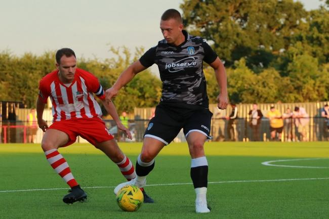 In possession - goalscorer Luke Norris in action during Colchester United's friendly win at Bowers and Pitsea Picture: NASH PHOTOGRAPHY