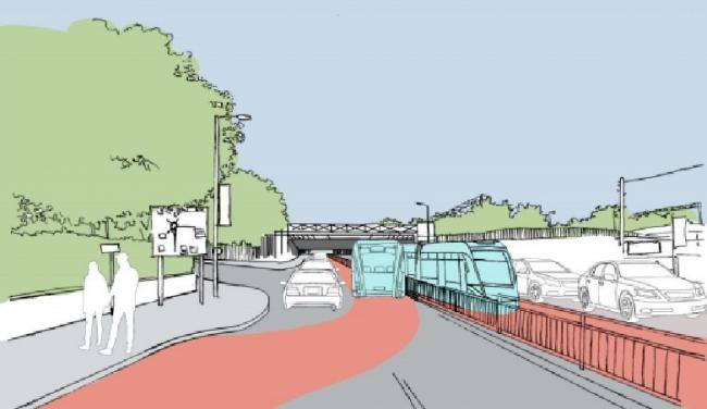 Vision - an artist's impression of the rapid transport system near Colchester North station