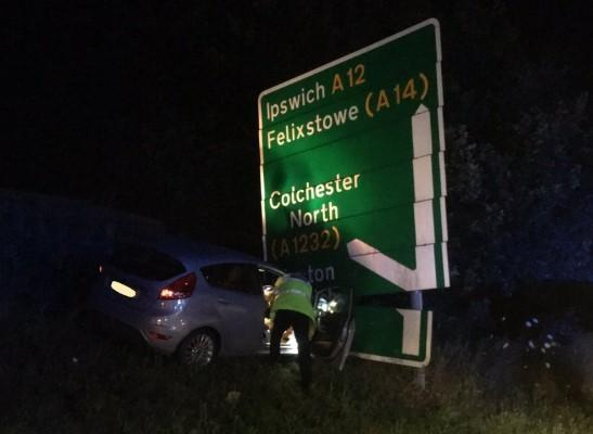 Police called as car crashes off A12 at Colchester into road sign