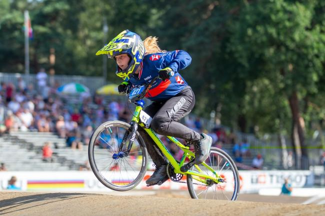 Freia Challis on her way to World Championship glory in Belgium. Picture: Tony Twist