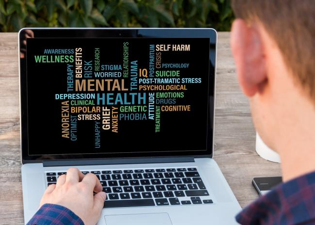 Stock picture of a computer and words about mental health
