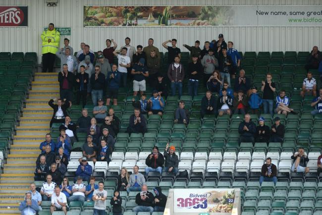 Great support - Colchester United fans at Home Park Picture: RICHARD BLAXALL