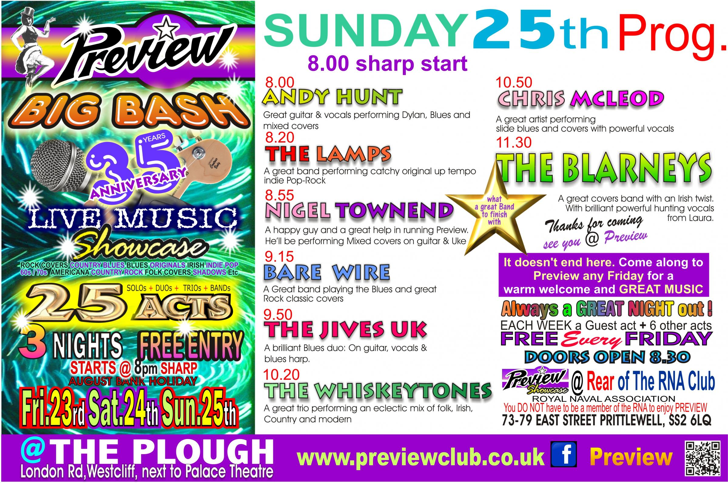 PREVIEW's Live Music BIG BASH Sunday 25th