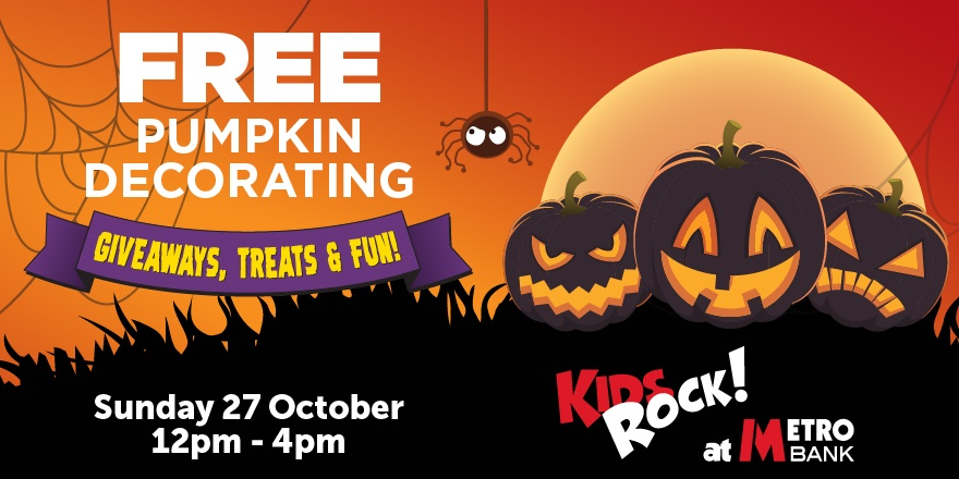 FREE Pumpkin decorating for kids at all Metro Bank stores!