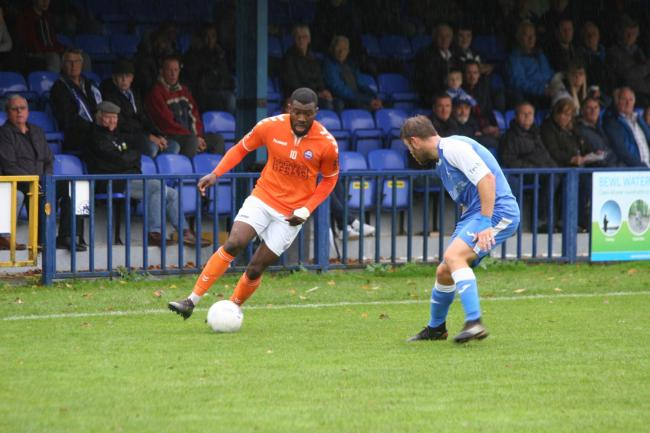 Femi Akinwande scored in a better second half for Braintree but it wasn't a successful afternoon at Welling United. Picture: Jon Weaver