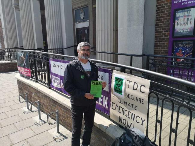 CRISIS CAMPAIGN: Steve Kelly protested outside the Town Hall in Clacton by not eating