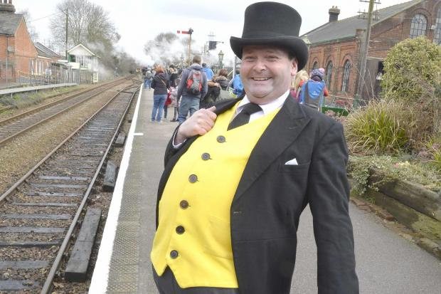 Thomas the Tank Engine day at Wakes Colnetrain museum..The fat controller organising the event.