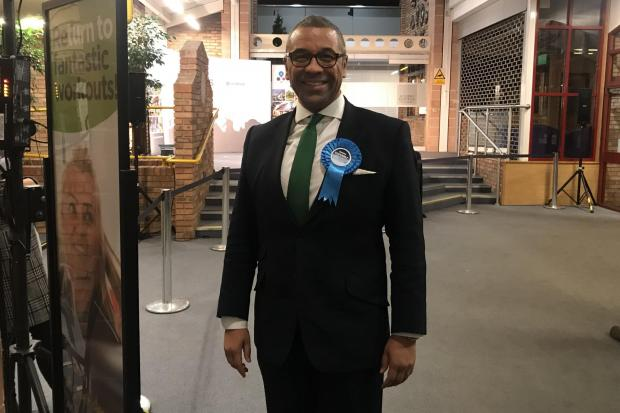 James Cleverly at the Braintree count in the 2019 General Election