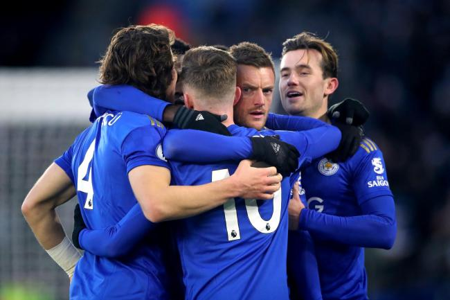 Leicester celebrate their leveller against Norwich