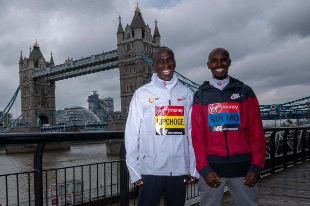 Eliud Kipchoge (left) will not face Sir Mo Farah in the marathon
