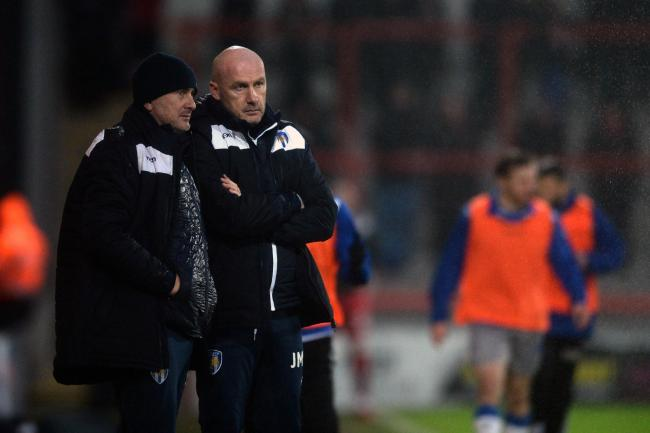 Colchester United Manager John McGreal and Assistant Manager Steve Ball - Morecambe vs. Colchester United - Sky Bet League Two - Globe Arena, Morecambe - 11/01/2020 - Photo by: Richard Blaxall.