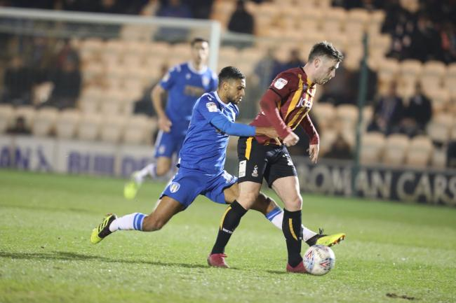 Tussle - Colchester United's Brandon Comley in midfield action during his side's 0-0 draw with Bradford City Picture: STEVE BRADING