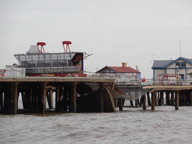 Plunge- a section of Clacton Pier collapsed into the North Sea