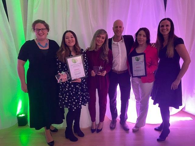 Melissa Marable (second left) and the The Performing Arts Team with their awards at the Essex Teaching Awards 2020