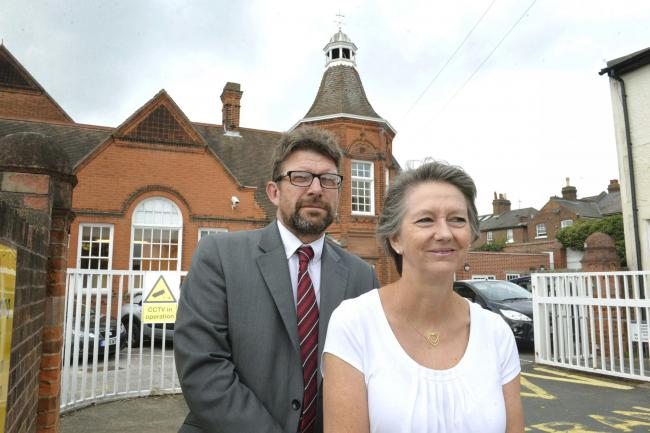 Head Alan Garnett with Chair of Governors Jan Blackwell at North Primary School, Colchester..