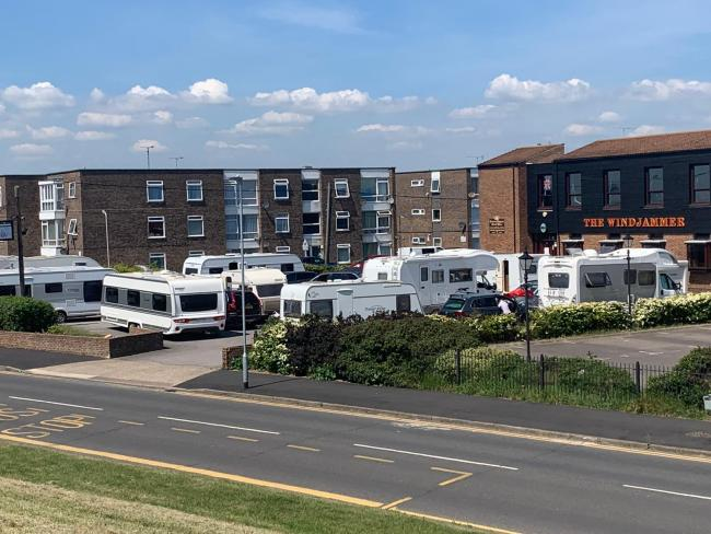 The site - caravans arrived at the Windjammer on Tuesday