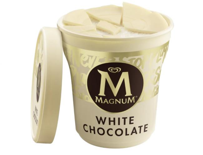 Magnum 'urgently recall' white chocolate ice cream tubs over serious allergy risk. Picture: Magnum/Unilever