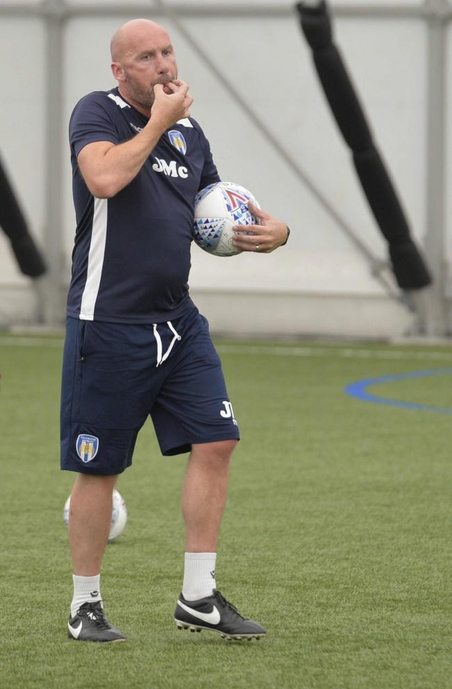 Return? Colchester United head coach John McGreal is set to be back at Florence Park next week Picture: STEVE BRADING