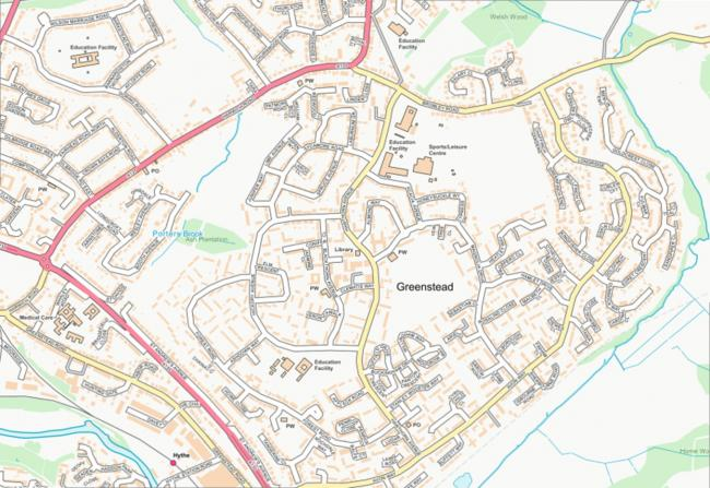 Map of Greenstead