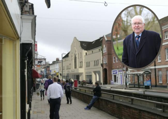 Designs - how the Old Odeon could look once rebuilt and (inset) Sir Bob Russell