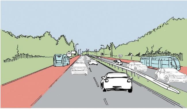 CGI - how the new road could look between the A120 and A133 in the future and (inset) expert Peter Kay