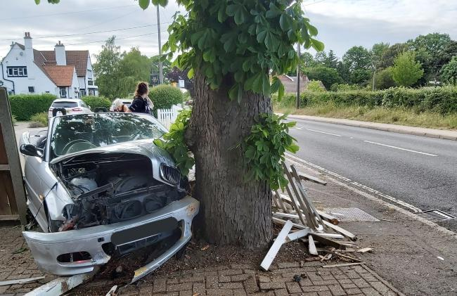 Crash - a man was arrested following the smash in West Bergholt                    Picture: EP Colchester