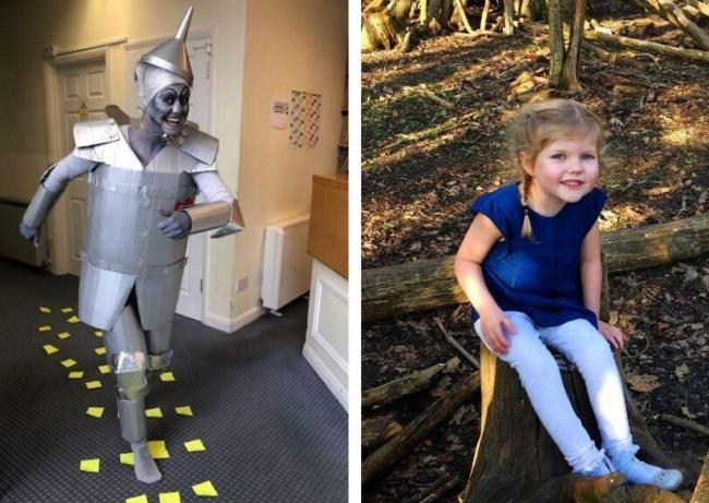 Zoe Skinner as Tin Man and right Phoebe Skinner