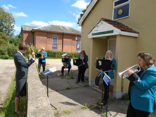 Playing - Boxted Methodist Silver Band outside the School Room
