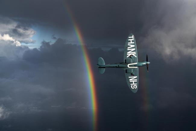 The NHS Spitfire in the sky. Picture: George Lewis Romain