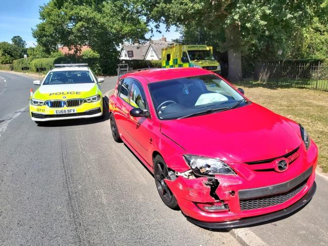 Offciers attended the crash at the junction between Halstead Road and Station Road (Credit: @EP_RPU_North)