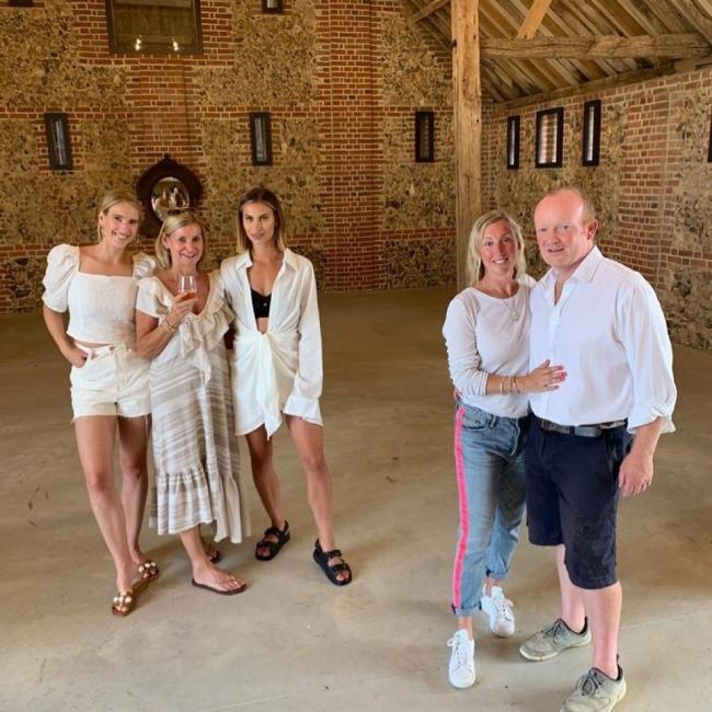 Ferne McCann with her mum and sister (left) along with Pod and Angus Crowther(right)