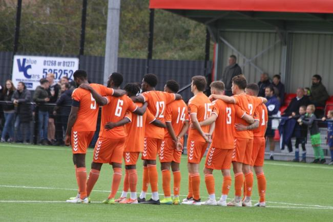 Spot on - Braintree Town's players during their penalty shoot-out win against Hashtag United, in the FA Cup Picture: JON WEAVER