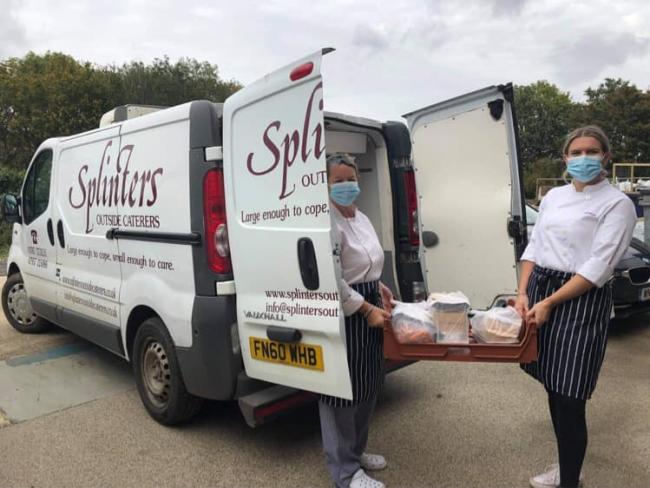 Splinters caterers make theior first delivery of the new 'Dial-Deliver-Dine' service