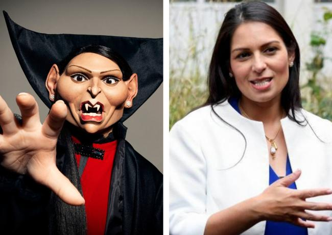 Priti Patel, right, is made a puppet in Spitting Image. Picture: PA