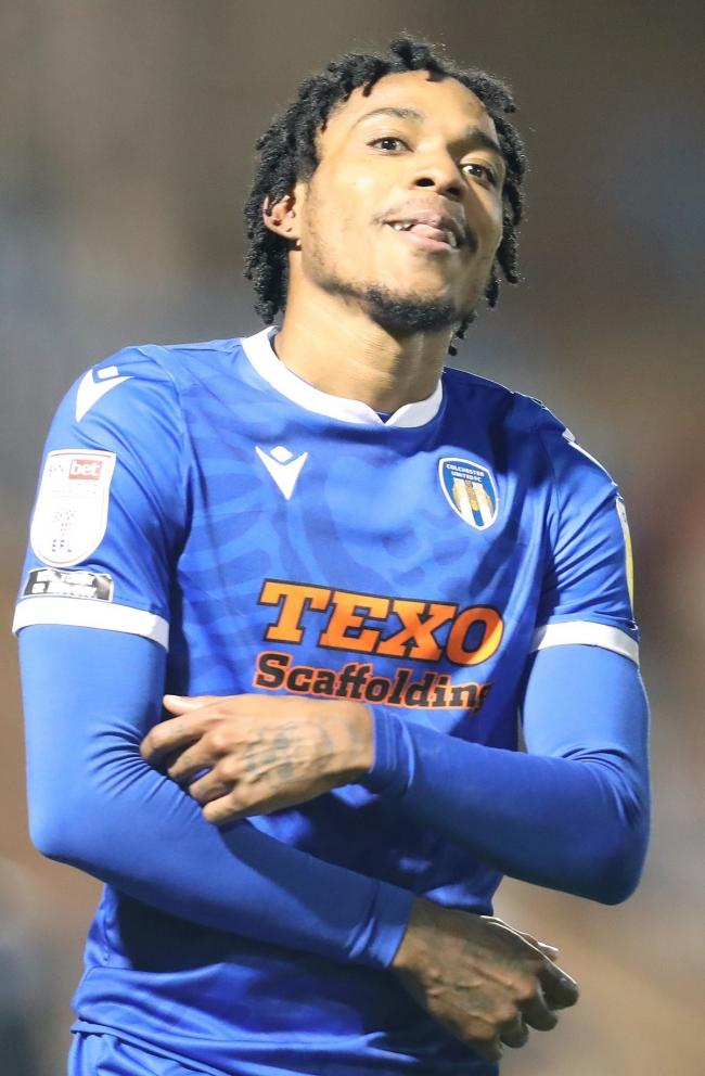 Colchester United forward Jevani Brown after scoring his second goal against Leyton Orient Picture: STEVE BRADING