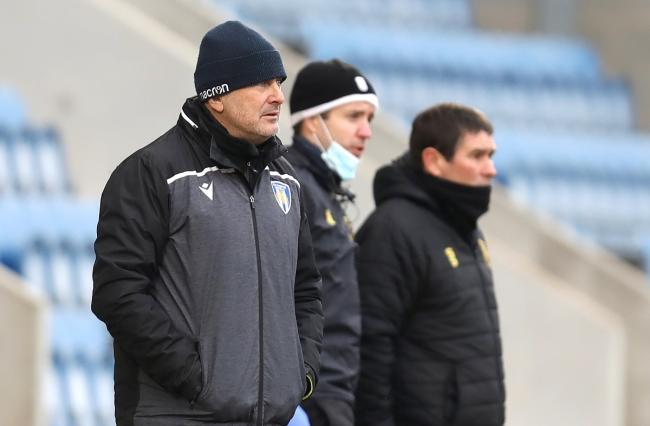 Positive - Colchester United head coach Steve Ball watches on from the sidelines during his side's 2-2 draw with Mansfield Town, last weekend Picture: STEVE BRADING