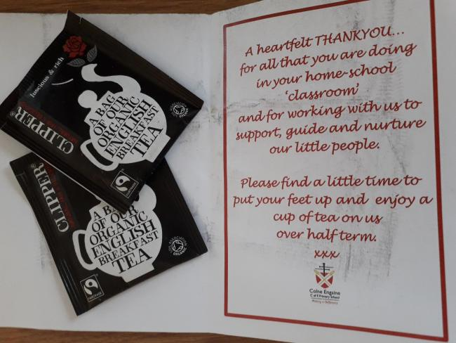 Colne Engaine Primary School sent cards and tea bags to parents