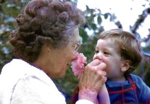Matt, aged 18 months, shares a special moment with his grandmother.