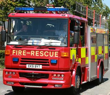 Fire service tackling barn fire