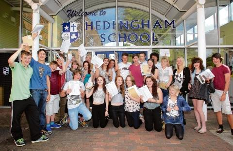 Hedingham School pupils celebrating last year's GCSE results
