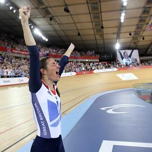 Halstead Gazette: Great Britain's Sarah Storey celebrates winning Gold during the Women's Individual C4-5 500m Time Trial at the Velodrome in the Olympic Park