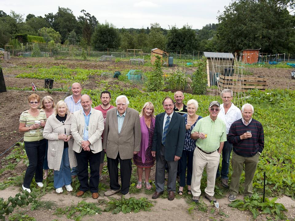 Councillors and residents mark the opening of the allotments