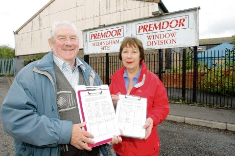 Halstead Gazette: Fred Swallow and Angela Weatherley with a petition calling for the surgery to be built