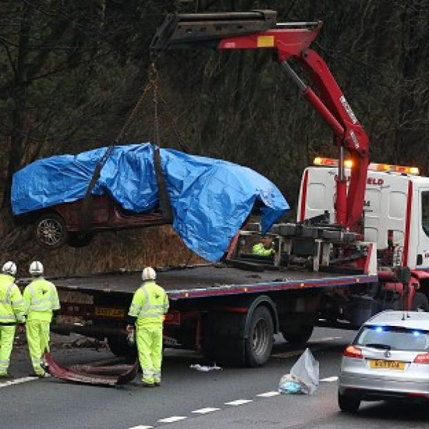 A general view of the crash scene on the M6 northbound carriageway between junctions 14 and 15