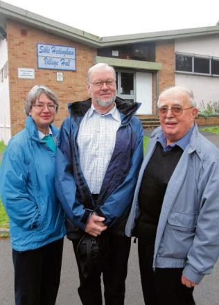 Committee members Jenny Mitchell, Owen Hawkes and Tommy Gaw outside Sible Hedingham Village Hall