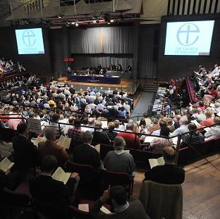 The hall during the discussions over the introduction of women bishops at the General Synod at Central Hall, University of York