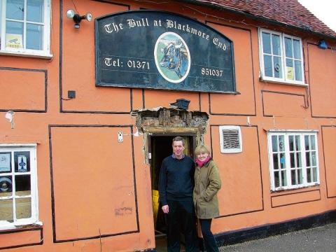 Colin and Belinda Coleman outside the pub