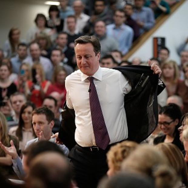 David Cameron talks to employees during a Cameron Direct session in Eastleigh, Hampshire