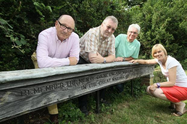 Halstead Gazette: Michael Estcourt, Gareth Jones, Graham Tombs and Jane Roach at the current memorial